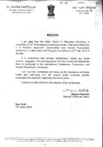 DR. NAJMA HEPTULLAH.MINISTER OF MINORITY AFFAIRS