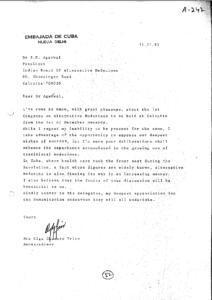 MRS. OLGA CHAMERO TRIAS, AMBASSADRESS, EMVASSY OF CUBA, NEW DELHI