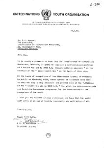 S.R. KALANDRIA SECRETARY GENERAL UNITAED NATIONS YOUTH ORGANISATIONS